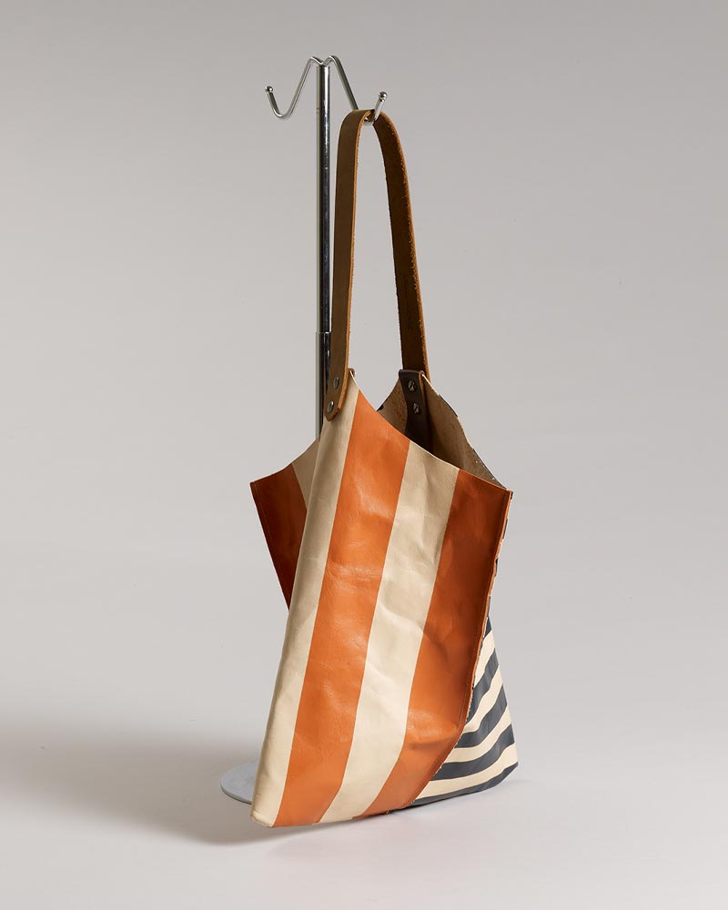 Jill Harrell - Wedge bag - Natural veg tanned leather with painted graphic stripes