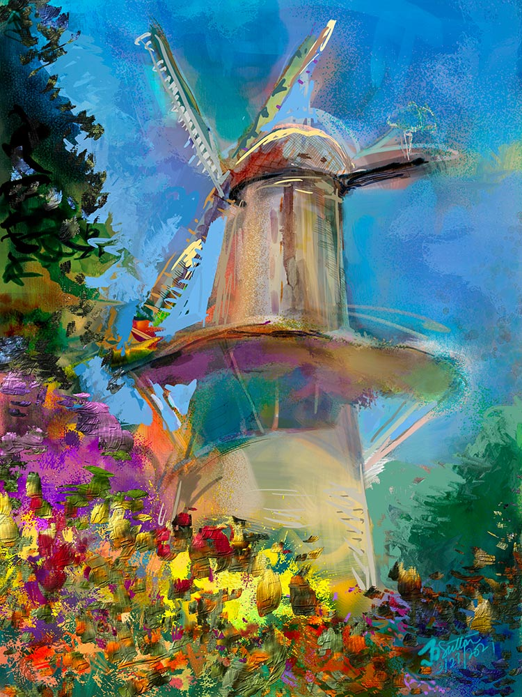 Dutch Windmill and Tulips by Jeremy Sutton