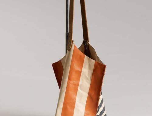 Wedge bag – Natural veg tanned leather with painted graphic stripes