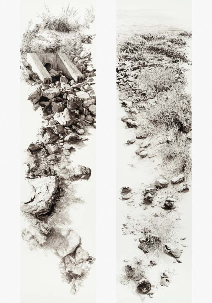 Sarah Newton - Culvert and Revetment (diptych)