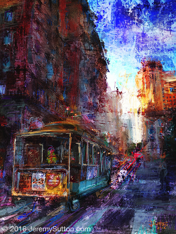 Jeremy Sutton art - Cable Car on Powell