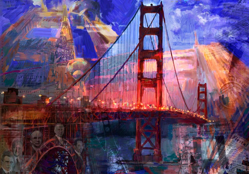 Jeremy Sutton art - Golden Gate Bridge at 75