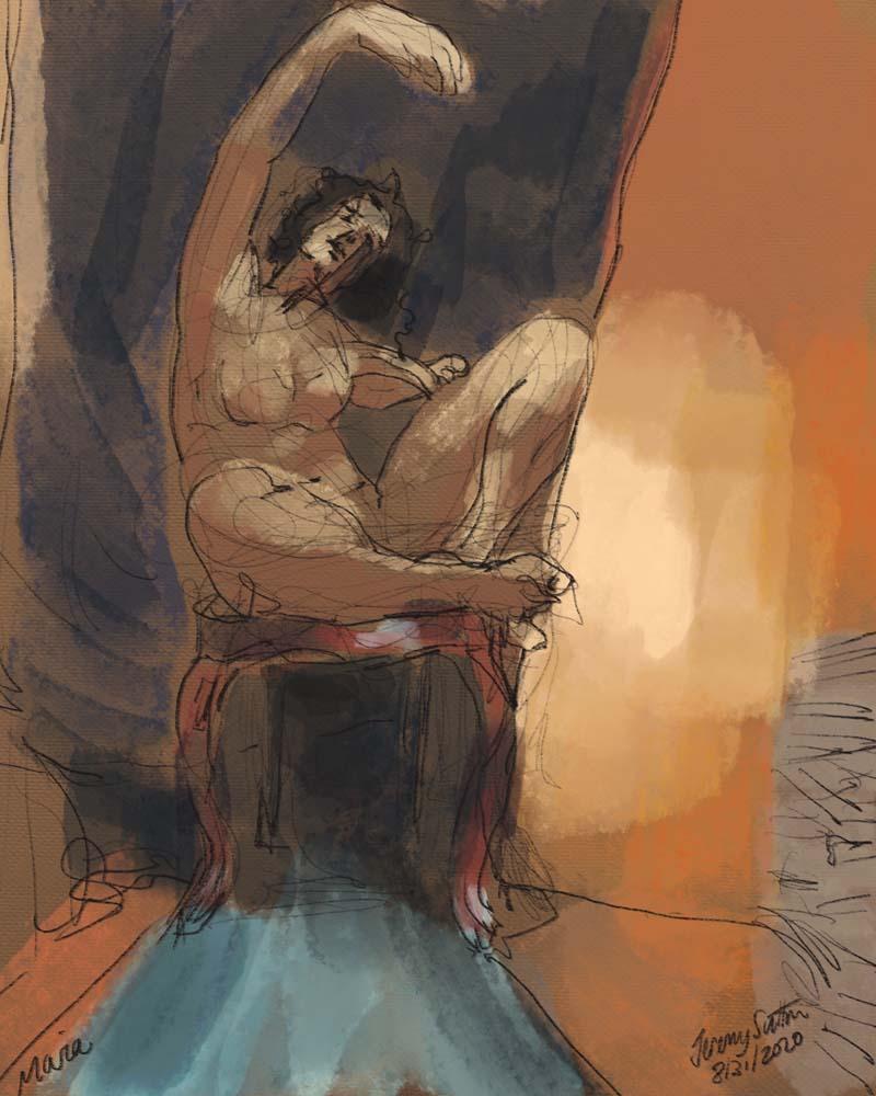 Jeremy Sutton art - Maria on Chair